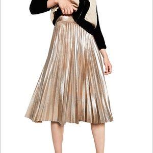 Zara limited edition Metallic Pleated Skirt